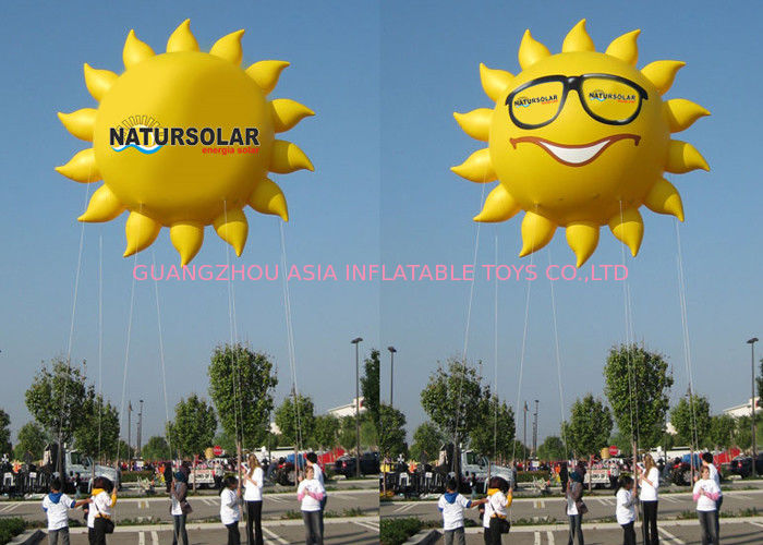 Sun Shaped Custom Inflatable Helium Balloons And Blimps 0.18mm PVC Material